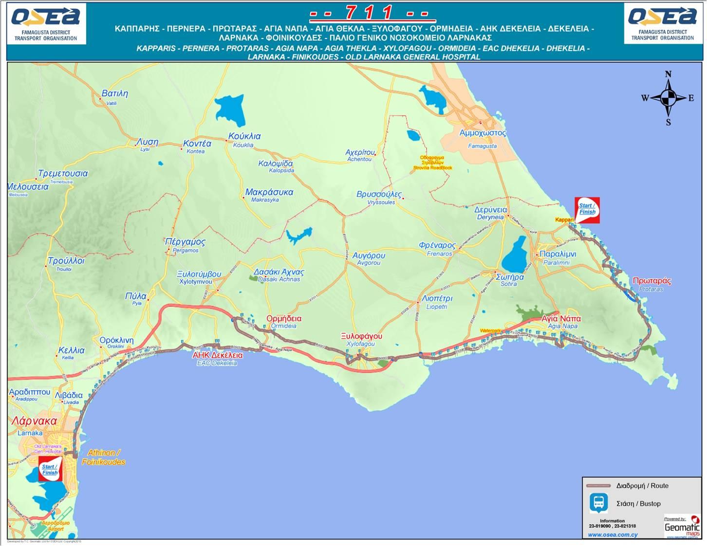 Karta Famagusta Cypern.Cyprus By Bus 711